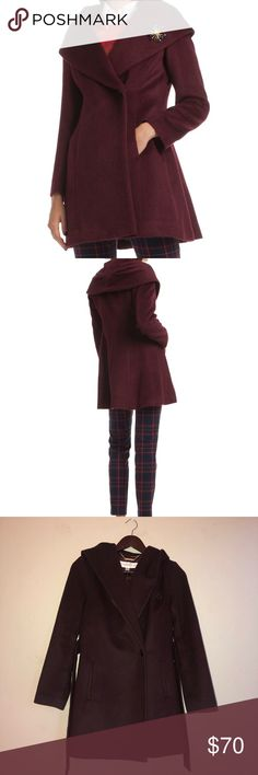 """Trina Turk """"Bonnie"""" hooded and belted wool coat! Wine or burgundy colored gorgeous and warm coat from Trina Turk. Can be worn so many ways and like new condition. Worn only a handful of times. The hood is awesome and the cut is flattering on all shapes! Trina Turk Jackets & Coats"""