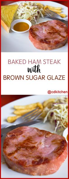 The sweet brown sugar glaze helps cut the saltiness of the ham and gives it a nice spicy-sweet crust at the same time. Cooking Ham Steak, Baked Ham Steak, Ham Steak Glaze, Grilled Ham, Ham Steaks, Pork Ham, Smoker Cooking, Ham Slices Recipes, Ham Steak Recipes