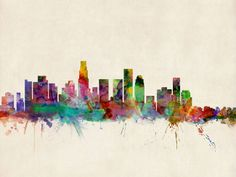 """""""Los Angeles City Skyline"""" by Michael Tompsett, Castellon // Watercolor art print of the skyline of Los Angeles, California, United States // Imagekind.com -- Buy stunning, museum-quality fine art prints, framed prints, and canvas prints directly from independent working artists and photographers."""