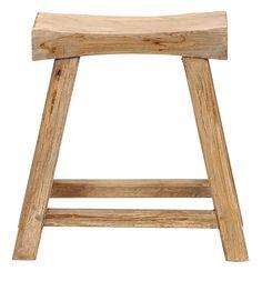 Krukje zadelzit Levi: stoere kruk van teak hout #landelijke #meubels