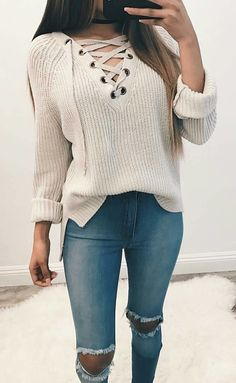 summer outfits White Lace-up Knit + Destroyed Skinny Jeans