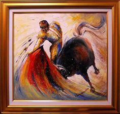 Items similar to Decorative oil painting on canvas - Torero on Etsy Oil Painting On Canvas, Workshop, Unique Jewelry, Handmade Gifts, Etsy, Vintage, Decor, How To Paint, Handcrafted Gifts