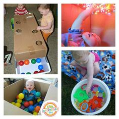 Simple baby play with bins and boxes