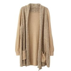 Open Front Knitted Cardigan Sweater Khaki Under $16 Def Planet