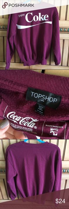 Exclusive topshop Coca Cola sweatshirt Got while ago and wore frequently!! Favorite sweatshirt but too small on me now. Perfect condition! Topshop Tops Sweatshirts & Hoodies
