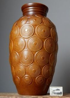 XL-Vintage-Labelled-60s-BAY-KERAMIK-Floor-Vase-W-German-Pottery-Op-Art-Fat-Lava