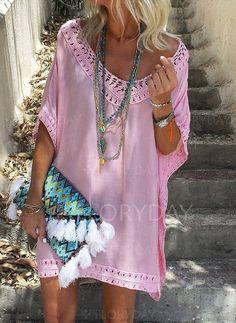 Solid Hollow Out Peasant V-Neckline Shift Dress - Herren- und Damenmode - Kleidung Vacation Dresses, Beach Dresses, Casual Dresses, Shift Dresses, Maxi Dresses, Summer Dresses For Women, Summer Outfits, Dress Summer, Ladies Dresses