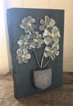 Beach Glass Daisies in Salvage Wood