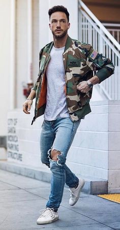57 Casual Street Style Outfits for Men - Artbrid - Cheap Mens Fashion, Camo Fashion, Fashion Moda, Military Fashion, Military Style, Men's Fashion, Fashion Tips, Fashion History, Fashion Clothes