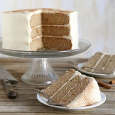 """Three layers of light and airy brown sugar cinnamon cake meet with rich and decadent maple cream cheese frosting in this stunning dessert."" - Annalise from Completely Delicious"