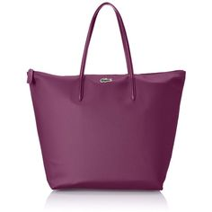 Lacoste Women's Concept Travel Shopping Bag ($84) ❤ liked on Polyvore featuring bags, handbags, tote bags, zippered tote bag, shopping tote bags, zip top tote, purple tote e zippered tote
