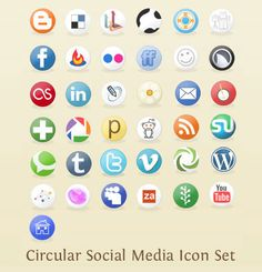 simple circle social media icons free for personal and commercial use.