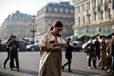 fashion editor Giovanna Battaglia is ready for Paris Women Fashion Week. This street style photo was captured before the Stella McCartney Sh...