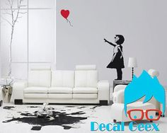 Banksy Girl With Love Balloon  Vinyl Decal Large by DecalGeex, $34.99