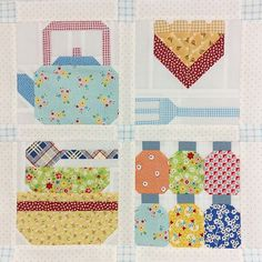 """"""" Looky at this adorable mini quilt made by @gramdeiber !!! She used three of my blocks from Farm Girl Vintage book and my Homemade Pie block too! I love…"""""""