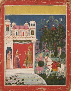 An Illustration to an Unidentified Series possibly a Rasikapriya Series (Lovers Breviary) Meeting of Lovers. Opaque pigment on paper, India, Malwar, Late 17th century,