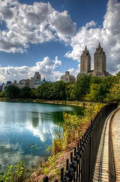 The 'San Remo' apartment building on Central Park West seen from the Jackie Kennedy Reservoir.