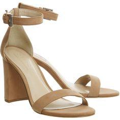 Office Nina Block Heel Sandal Nude Nubuck (4.905 RUB) ❤ liked on Polyvore featuring shoes, sandals, heels, nubuck sandals, nubuck leather shoes, block heel shoes, nude footwear and nude shoes