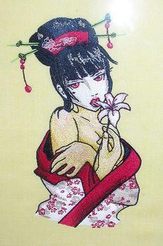 Modern Geisha with Flower design embroidered
