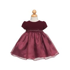 Kid Collection- -Baby-Girls KID Collection Lovely Sleeves Velveteen Bodice Baby Dress with Ribbon