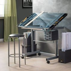 Studio Designs Vision 2 Pc Craft Center With Glass Top   Drafting U0026 Drawing  Tables At Hayneedle