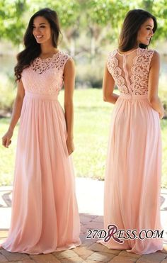 2017 Pink Long Sleeveless Sheer-Back Cheap Lace Chiffon Evening Dress_High Quality Wedding Dresses, Prom Dresses, Evening Dresses, Bridesmaid Dresses, Homecoming Dress - 27DRESS.COM