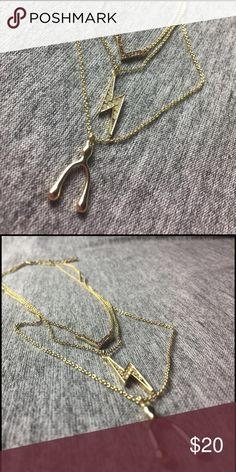 Dainty three row necklace Jewelmint dainty three row necklace with wishbone and lightning bolt. So cute. Worn once. Jewelmint Jewelry Necklaces