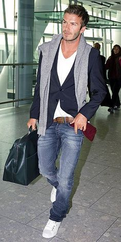 Spring / Summer - street style - casual style - jeans + brown belt + white sneakers + v neck shirt + navy blazer + gray sweater