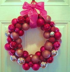 Very easy instructions to make your own ball wreath. Did this last year and super simple. Wire hanger, hot glue gun and lots of Christmas Balls. Top off with a ribbon!
