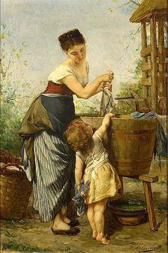 Mother's Little Helper,Timoléon Lobrichon (1831 – 1914, French)