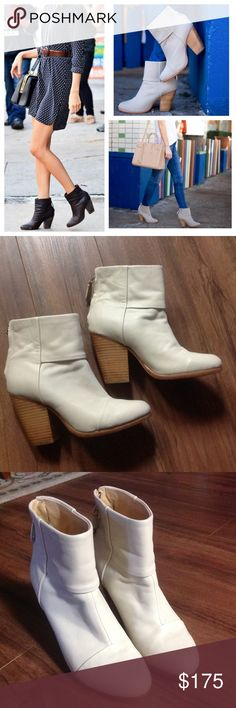 Rag & bone newbury leather ankle boots In very good condition. No major signs of wear on the leather, only one  spot on the back of the right boot. Please see photo. Cream in color, made of 100% leather.                             m rag & bone Shoes Ankle Boots & Booties