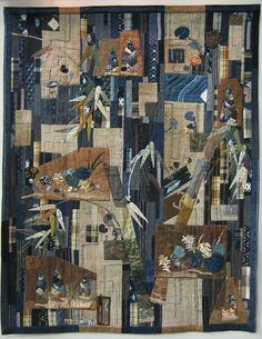 WA Quilt Category by Mitsuyo Akita - from 2010 Tokyo International Great Quilt Festival First Place Love the mix of indigos and taupes Japanese Patchwork, Japanese Textiles, Quilt Festival, Textile Fiber Art, Textile Artists, Yoko Saito, Asian Quilts, Landscape Quilts, Expo