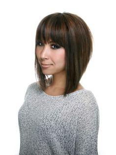 A line bob haircut with bangs! Love the cut!