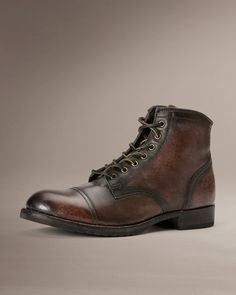 Frye 150th Anniversary, Dark Brown Distressed Logan Cap Toe Leather Lace-up Shoe
