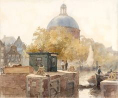 Artwork by Cornelis Vreedenburgh, View of the Singel with the Koepelkerk, Amsterdam, 1922 Made of watercolour heightened with white on paper Amsterdam School, Amsterdam Art, Dutch Painters, Watercolor Paintings, Watercolour, Netherlands, Holland, Museum, Fine Art