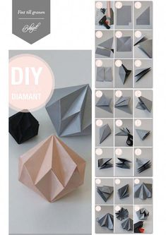 Origami Bastelanleitungen Paper diamonds for the Christmas tree. - Holidays and events Of Girls Paper Crafts Origami, Origami Art, Diy Paper, Paper Crafting, Origami Folding, Origami Ideas, Oragami, Paper Folding, Origami Design