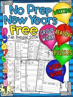 Enjoy this packet of NO PREP reading, writing, and language resources for grades Happy New Year! Enjoy this packet of NO PREP reading, writing, and language resources for grades Happy New Year! New Years Activities, Word Work Activities, Reading Activities, Teaching Reading, Holiday Activities, Classroom Fun, Classroom Activities, School Holidays, Teaching Resources