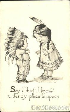Little Indian Girl and Boy Native Americana