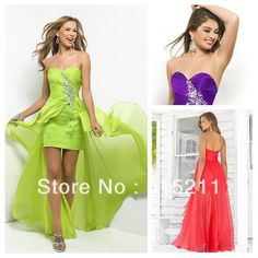 High Low Style Beaded Sweetheart Lime Green Purple Melon Chiffon Front Short Long Back Prom Dresses 2014 Hot Sale $120.96