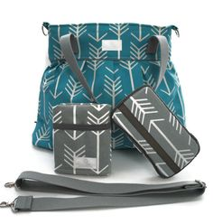 Diaper Bag Gift Set - Turquoise Arrow Diaper Bag - Travel Pad - Wipes Case - Messenger Strap