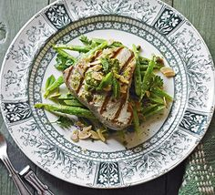 """I saw this in """"Seared tuna & anchovy runner beans"""" in August 2014 Hot summer cooking. Bbc Good Food Recipes, Dinner Recipes, Cooking Recipes, Healthy Recipes, Savoury Recipes, Healthy Grains, Healthy Eating, Healthy Food, Clean Eating"""