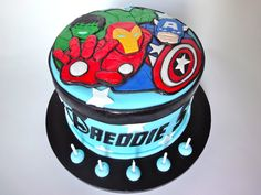 Avengers Cake featuring Iron Man, Hulk and Captain America Hulk Birthday Cakes, Avenger Cake, Avengers Birthday, Grilling Gifts, Homemade Butter, Warm Food, Cold Meals, Slow Food, Cute Cakes