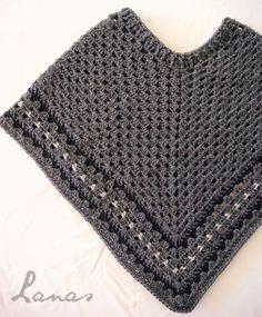(Crochet) A granny poncho in dark grey… Un poncho granny en color gris oscuro… I recently made a gr...