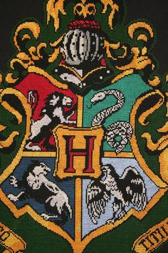 Harry Potter Hogwarts crest from a cross stitch pattern