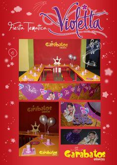 Fiesta Tematica Violetta !! Incluye Vajilla descartable, Disfraz, Animación temática, Mantel y Banderín para mesa dulce, Adorno para la torta, Ambientación con globos. Consulta mas info y reserva tu adicional por privado.  Consulta también por fiestas temáticas de: Minnie - Mickey - Monster High - Hombre Araña - Angry Birds - Hello Kitty y muchos mas!!