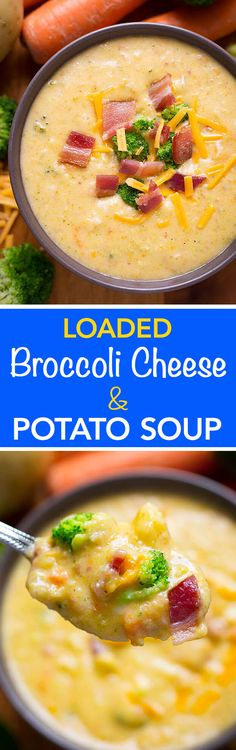 Loaded Broccoli Cheese & Potato Soup tastes rich and delicious. Total comfort food loaded with cheese, potatoes, broccoli and bacon!