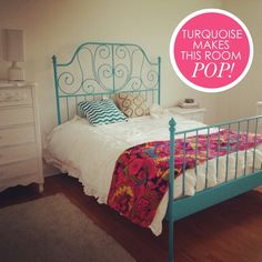 The white chang 39 e 3 and i love on pinterest for Turquoise bed frame