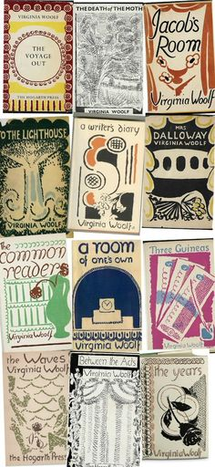 Virginia Woolf's book covers, designed by her sister Vanessa Bell.