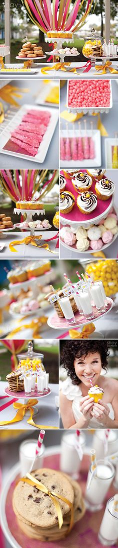 Pink and Yellow Ribbon Dessert Table by @chicsweets of Tampa, FL.