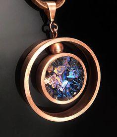 Bismuth and Copper Necklace  Custom Made   Bismuth Geode
